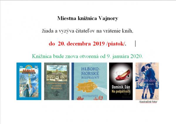 Miestna knižnica Vajnoryžiada a vyzýva čitateľov na vrátenie kníh