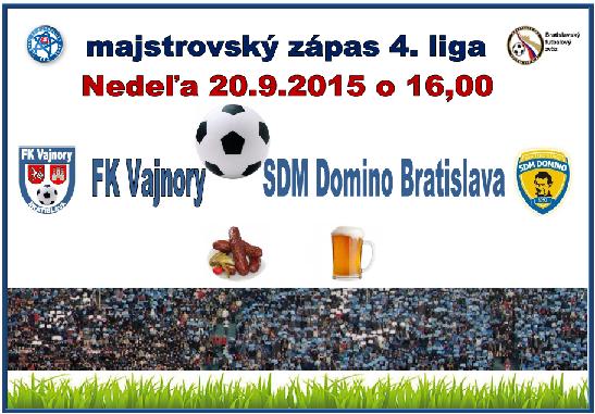 Futbalový zápas FK Vajnory - SDM Domino Bratislava 20.9.2015