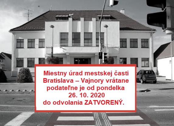 Oznam o zatvorení úradu od 26.10.2020 do odvolania