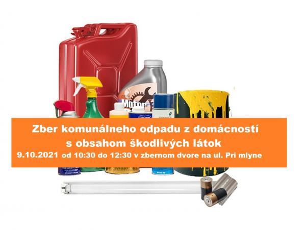 Zber komunálnych odpadov z domácností s obsahom nebezpečných látok