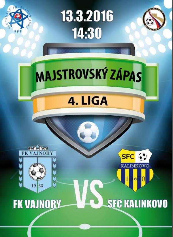 Futbalový zápas FK Vajnory - SFC Kalinkovo 13.3.2016