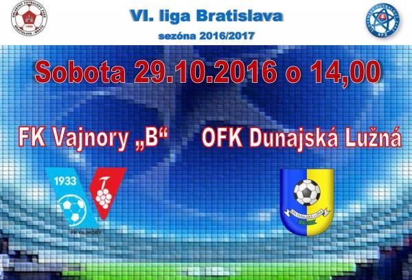 """Futbalový zápas FK Vajnory """"B"""" – OFK Dunajská Lužná"""