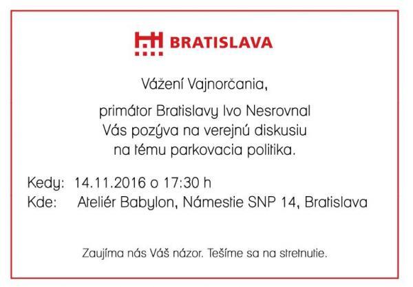 """Verejná diskusia na tému """"Parkovacia politika"""" s primátorom 14.11.2016"""