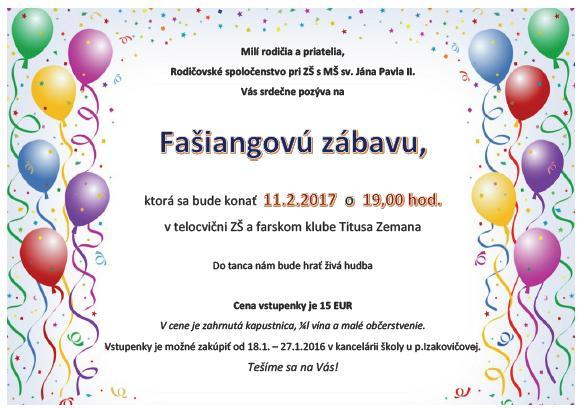 Fašiangová zábava ZŠ sv. Jána Pavla II. 11.2.2017