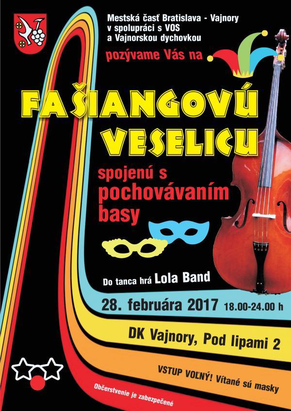 Fašiangová veselica 28.2.  vo Vajnoroch