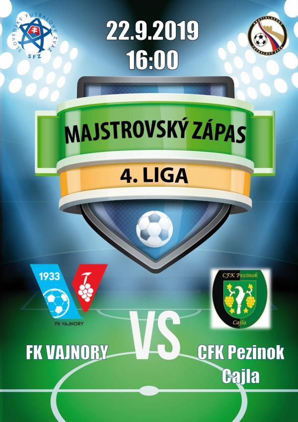 Futbalový zápas 4.ligy FK Vajnory - CFK Pezinok Cajla 22. septembra 2019