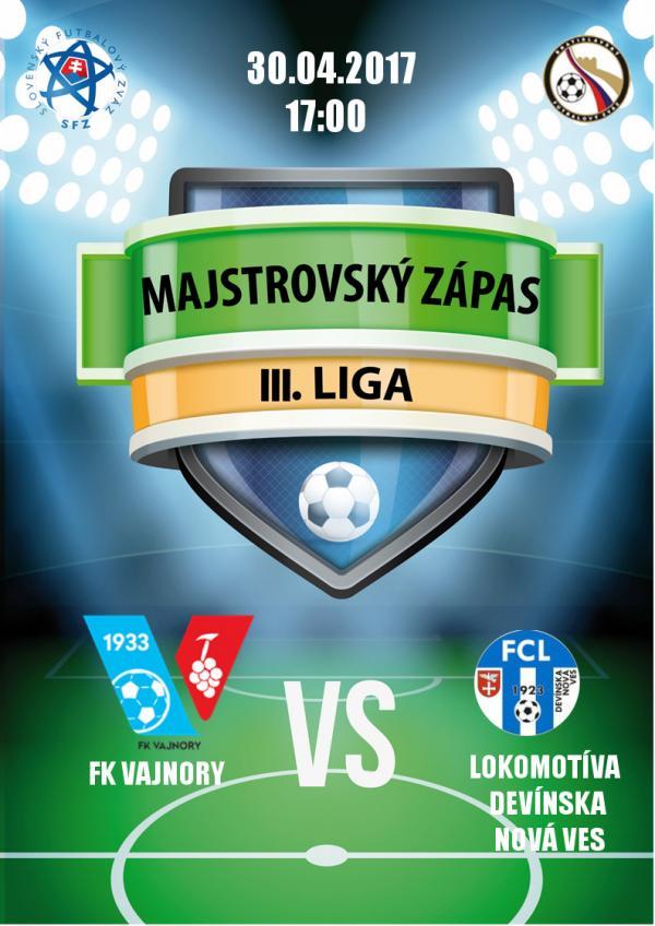 FK Vajnory - FCL Devínska Nová Ves 30.4.2017
