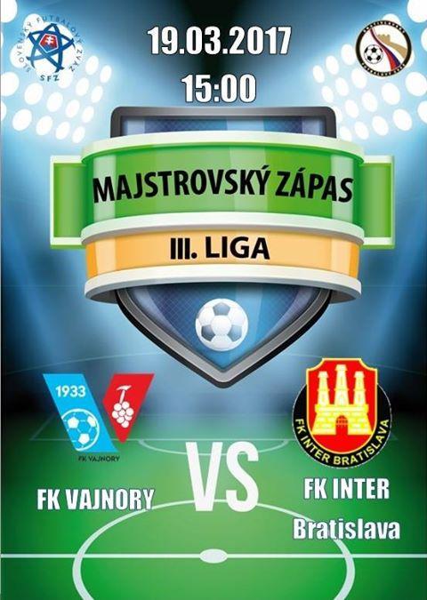 Futbalový zápas FK Vajnory - FK Inter Bratislava 19. marec 2017