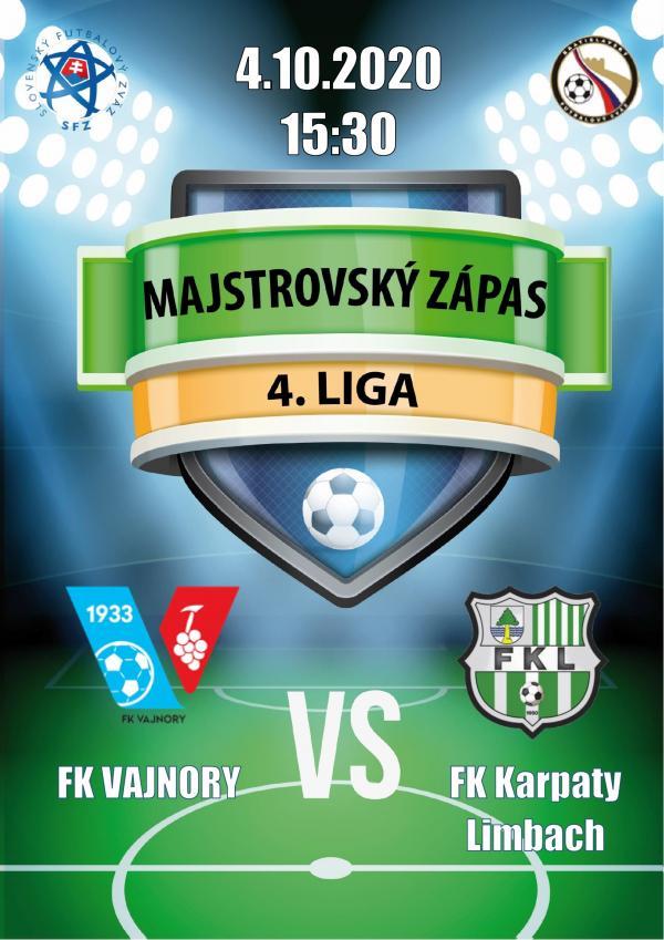 Futbalový zápas 4.ligy FK Vajnory a FK Karpaty Limbach 4.októbra 2020