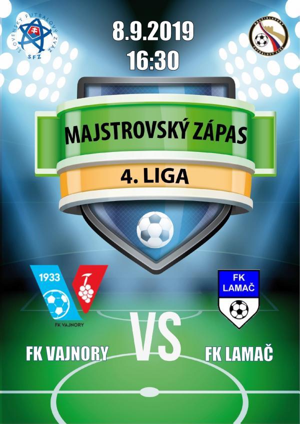 Futbalový zápas 4.ligy FK Vajnory a FK Lamač 8. septembra 2019