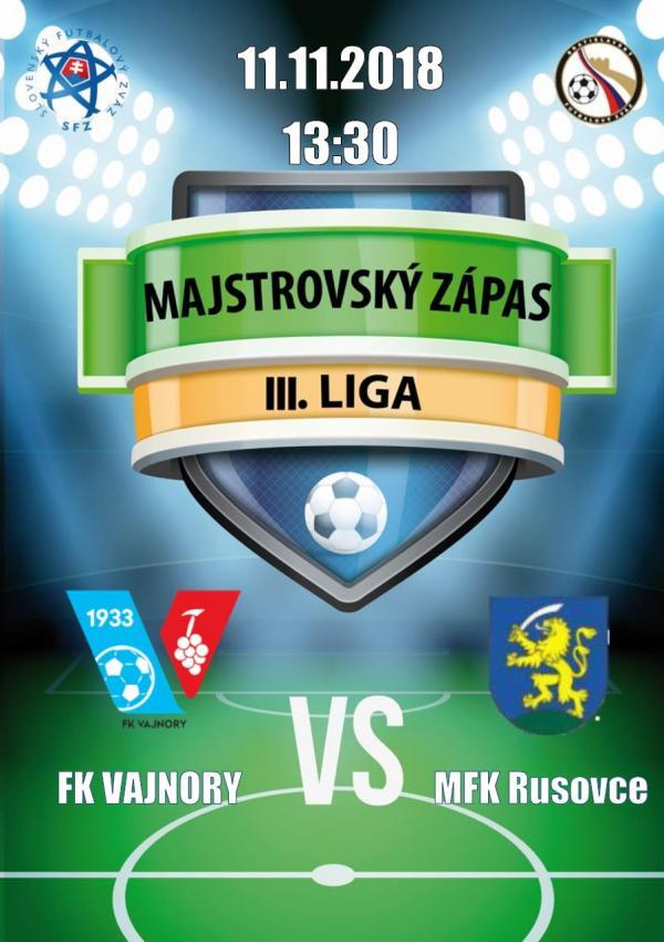 FK Vajnory - MFK Rusovce 11.11.2018