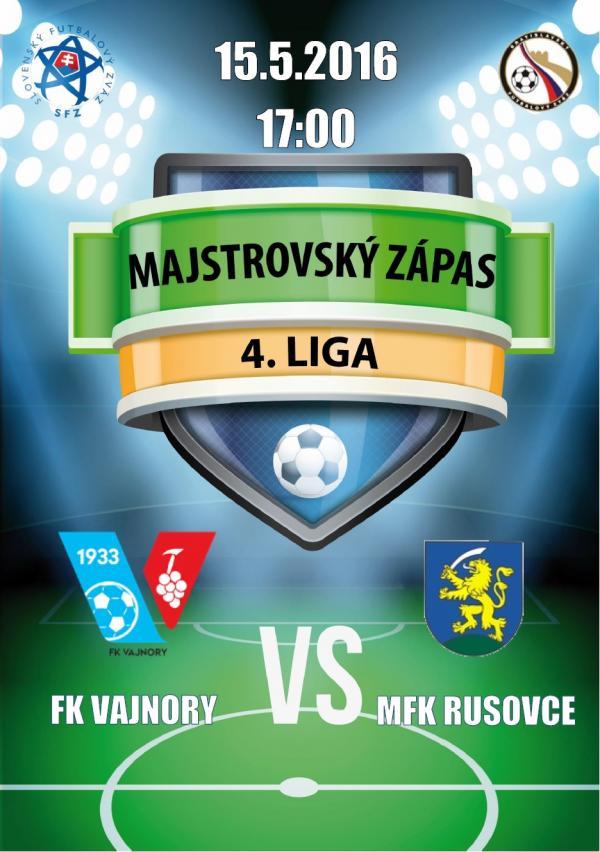 Futbalový zápas FK Vajnory - MFK Rusovce 15.5.2016