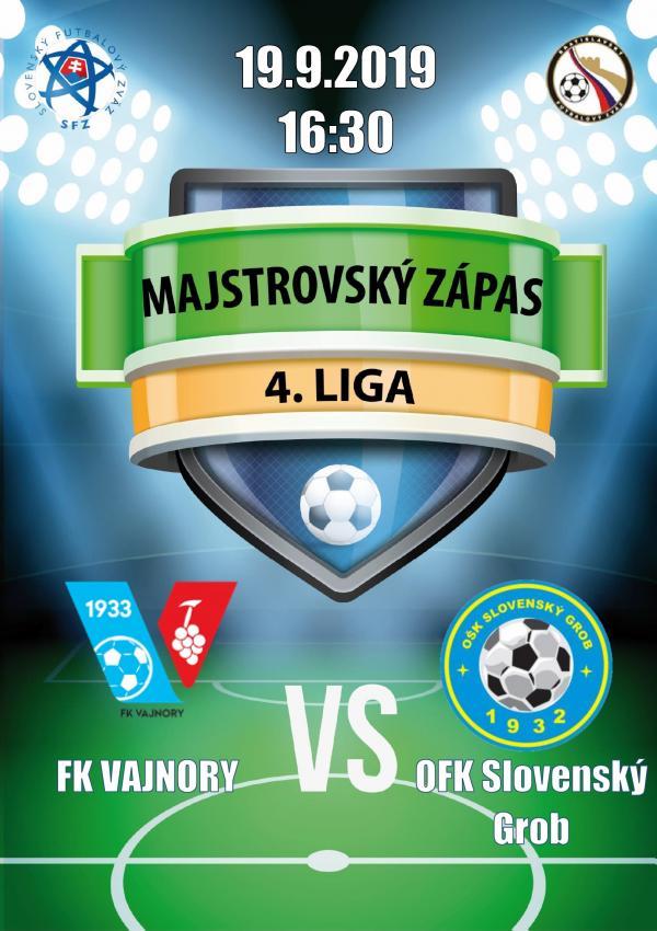 Futbalový zápas 4.ligy FK Vajnory - OŠK Slovenský Grob 19 septembra 2019