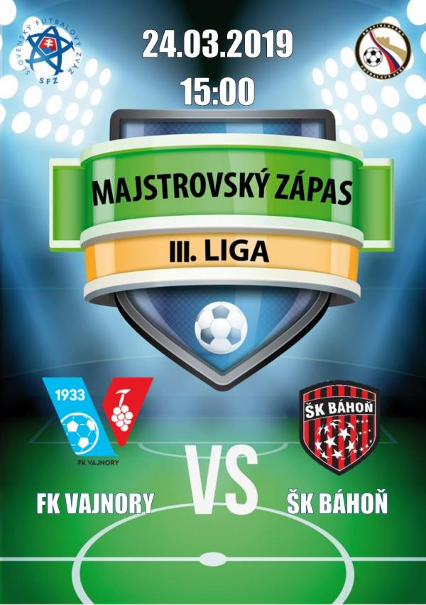 FK Vajnory - Šk Báhoň 24. marca 2019