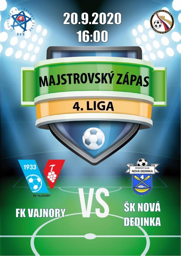 Futbalový zápas 4.ligy FK Vajnory a ŠK Nová Dedinka  20.septembra 2020
