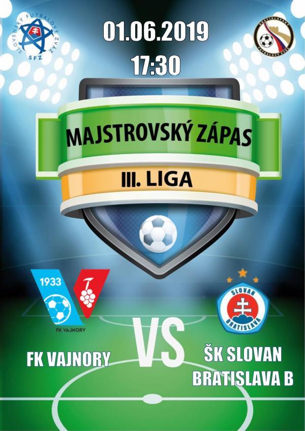 FK Vajnory aŠK Slovan Bratislava B 1. júna 2019