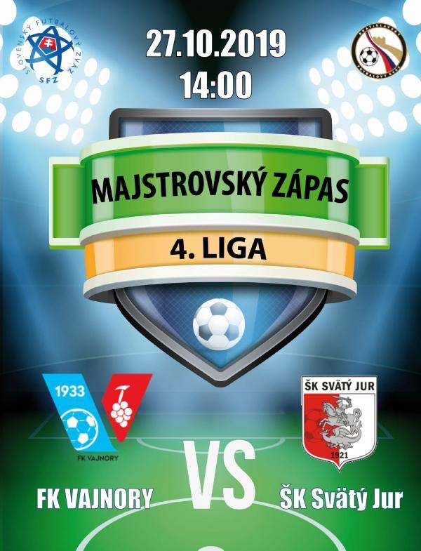 Futbalový zápas 4.ligy FK Vajnory a ŠK Svätý Jur 27.októbra 2019