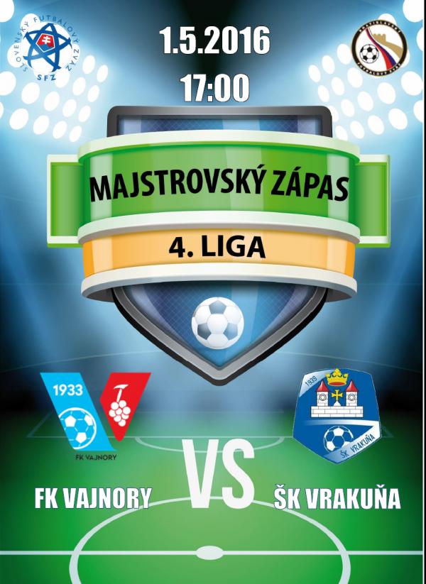 Futbalový zápas FK Vajnory - ŠK Vrakuňa 1.5.2016