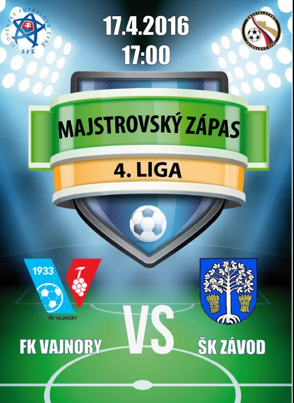 Futbalový zápas FK Vajnory - ŠK Závod 17.4.2016