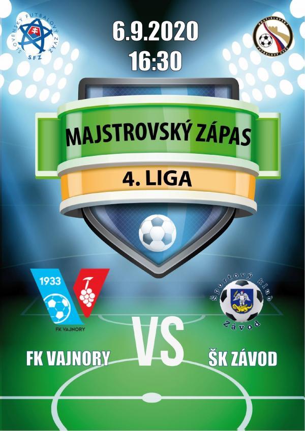 Futbalový zápas 4.ligy FK Vajnory a ŠK Závod 6.septembra 2020