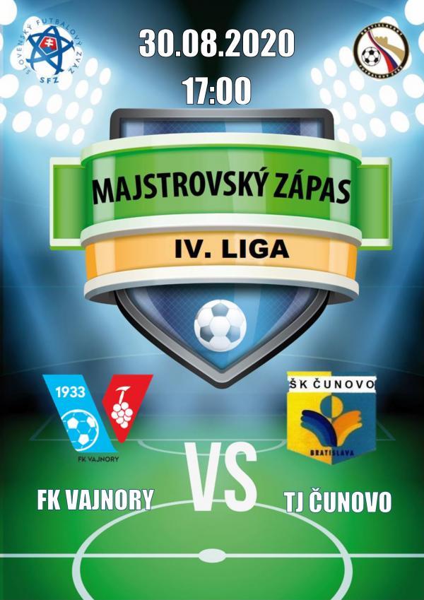 Futbalový zápas 4.ligy FK Vajnory a TJ Čunovo 30.augusta 2020