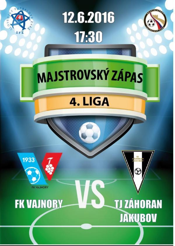 Futbalový zápas FK Vajnory - TJ Záhoran Jakubov 12.6.2016