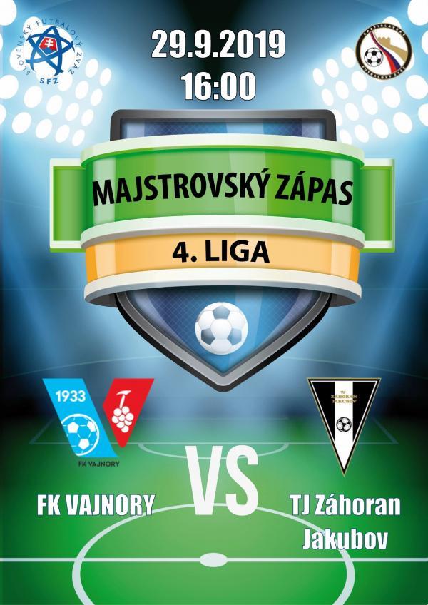 Futbalový zápas 4.ligy FK Vajnory a TJ Záhoran Jakubov 29.septembra 2019