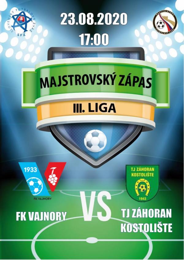 Futbalový zápas 4.ligy FK Vajnory a TJ Záhoran Kostolište 23.augusta 2020