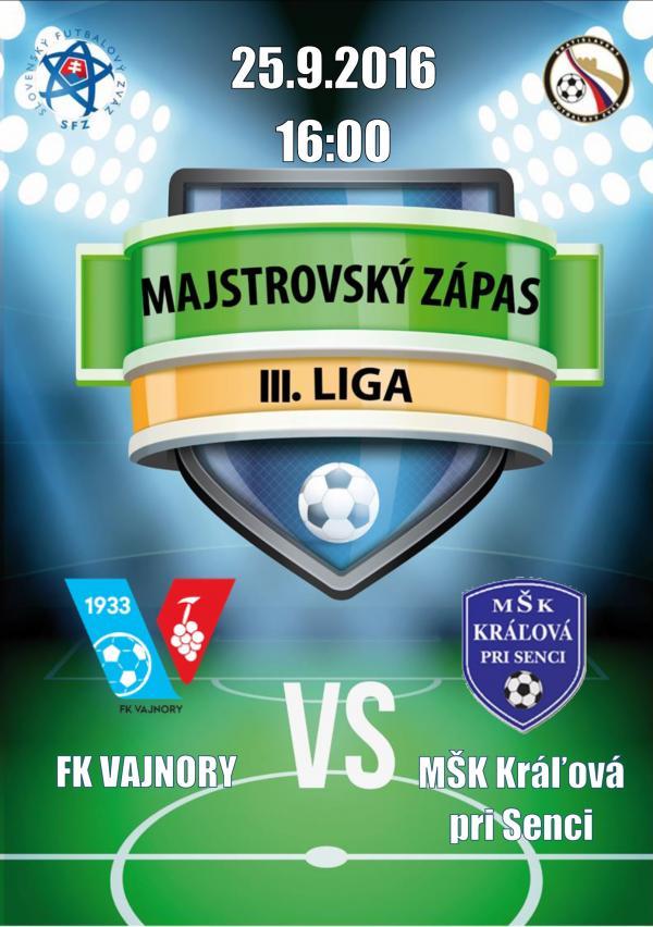 Futbalový zápas FK Vajnory - MŠK Kráľová pri Senci 25.9.2016