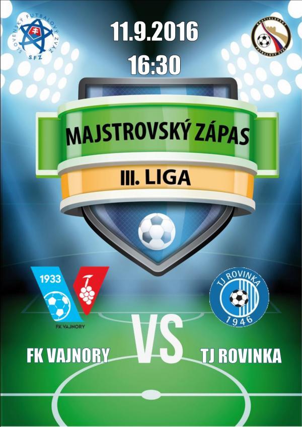 Futbalový zápas FK Vajnory - TJ Rovinka 11.9.2016
