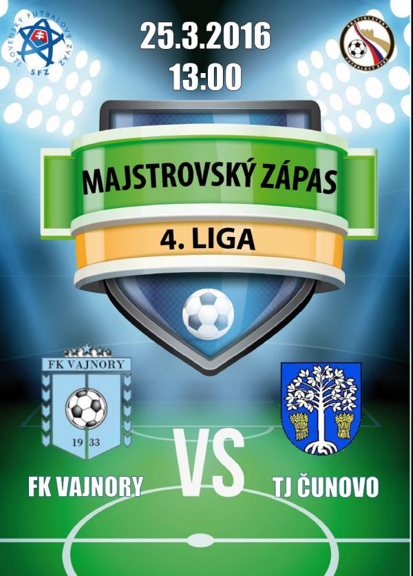 Futbalový zápas FK Vajnory - TJ ČUNOVO 25.3.2016