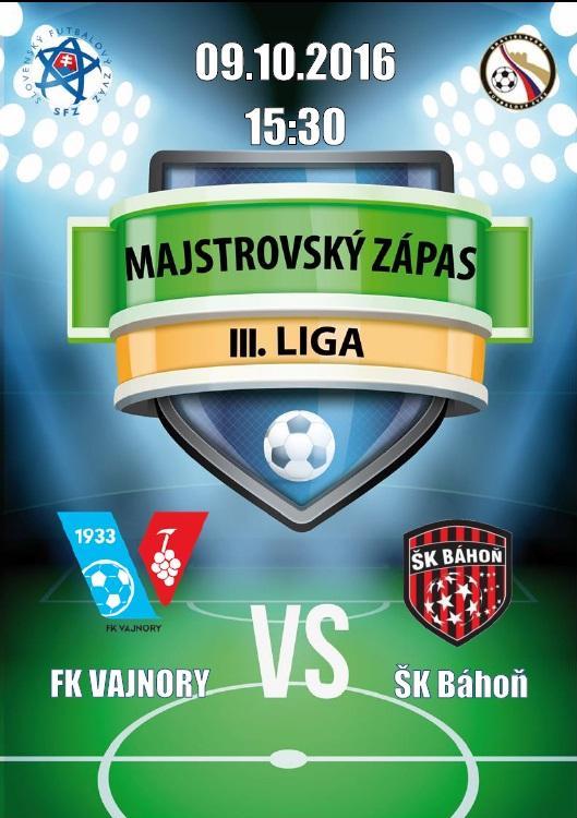 Futbalový zápas FK Vajnory - ŠK Báhoň 9.10.2016