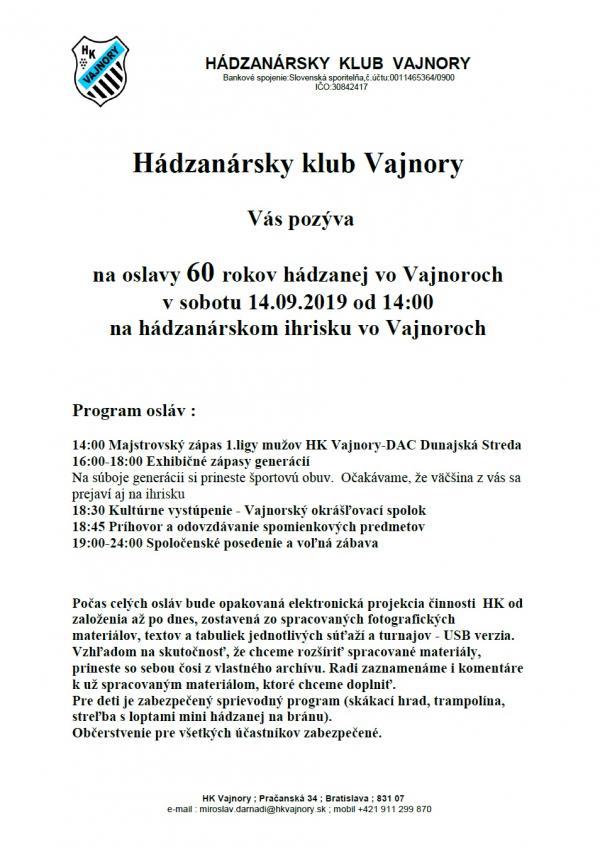Oslava 60. výročia hádzanej vo Vajnoroch 14. septembra 2019