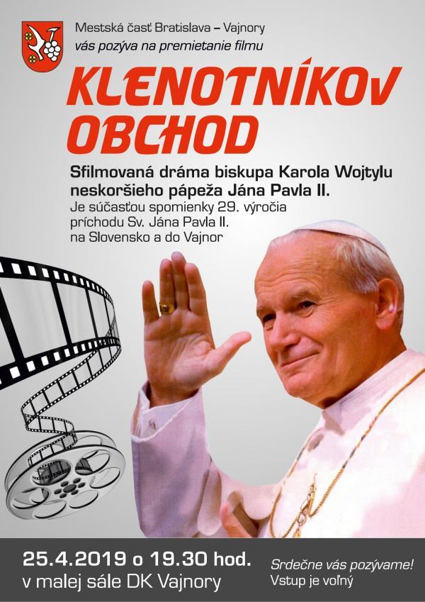 Premietanie filmu Klenotníkov obchod 25. apríla 2019