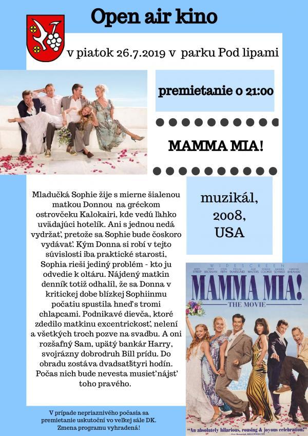 Letné kino: Mamma Mia! 26. júla 2019