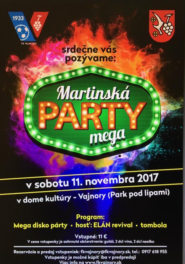 Martinská megapárty 11. novembra 2017