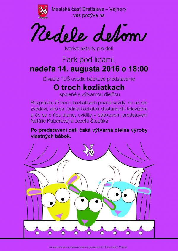 Nedele deťom - O troch kozliatkach - nedeľa 14. augusta 2016 o 18.00 h. Park pod Lipami