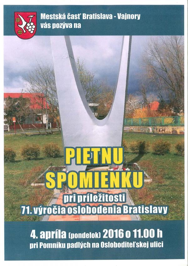 Pietna spomienka pri príležitosti 71. výročia oslobodenia Bratislavy 4.4.2016