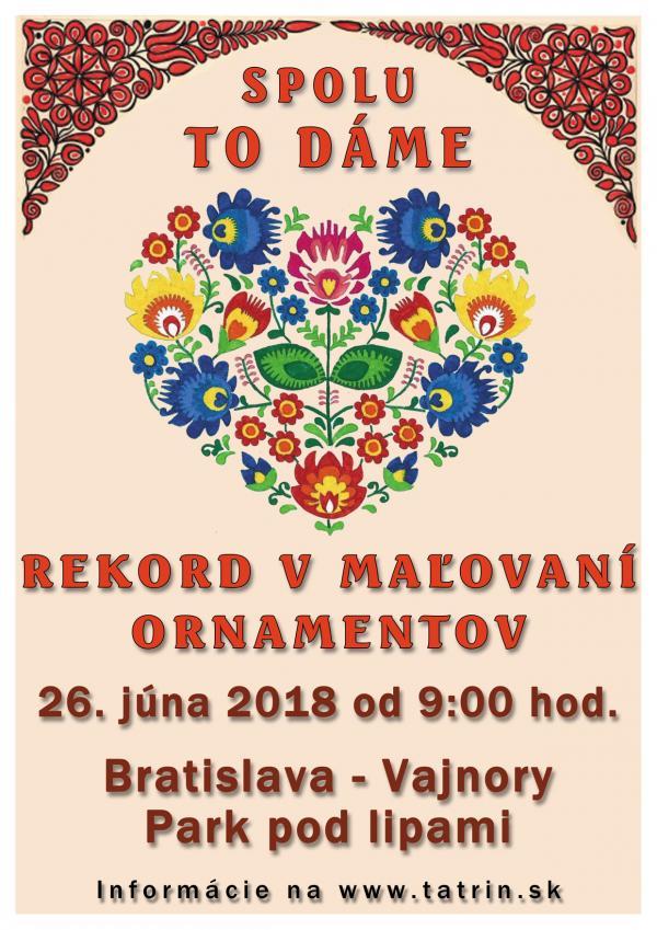 Vyhlásenie slovenského rekordu v maľovaní ornamentov 26. júna 2018