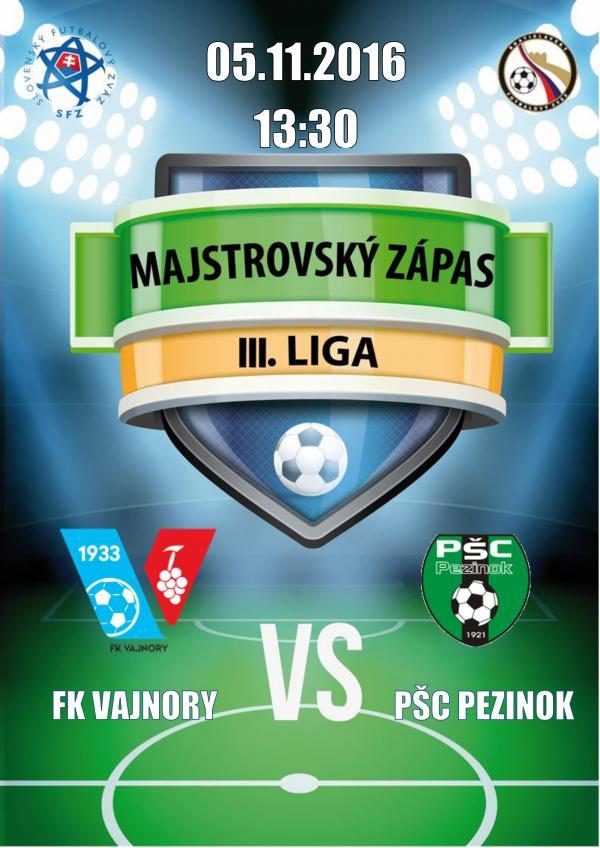 Majstrovský ligový zápas FK Vajnory - PŠC Pezinok