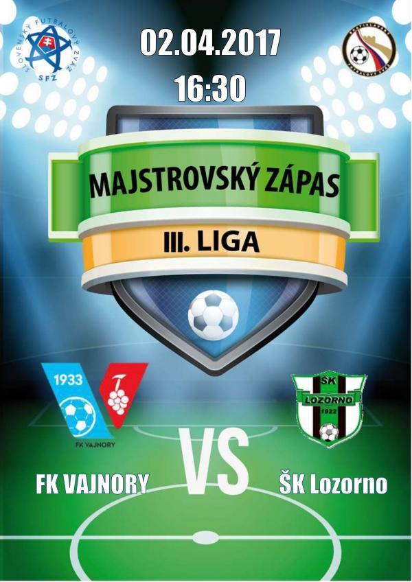 Majstrovský ligový zápas FK Vajnory - ŠK Lozorno
