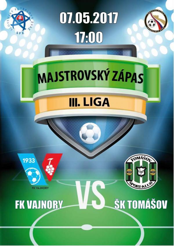 Majstrovský ligový zápas FK Vajnory - ŠK Tomášov