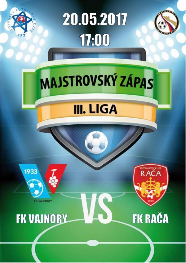 Majstrovský futbalový zápas 20.5.2017
