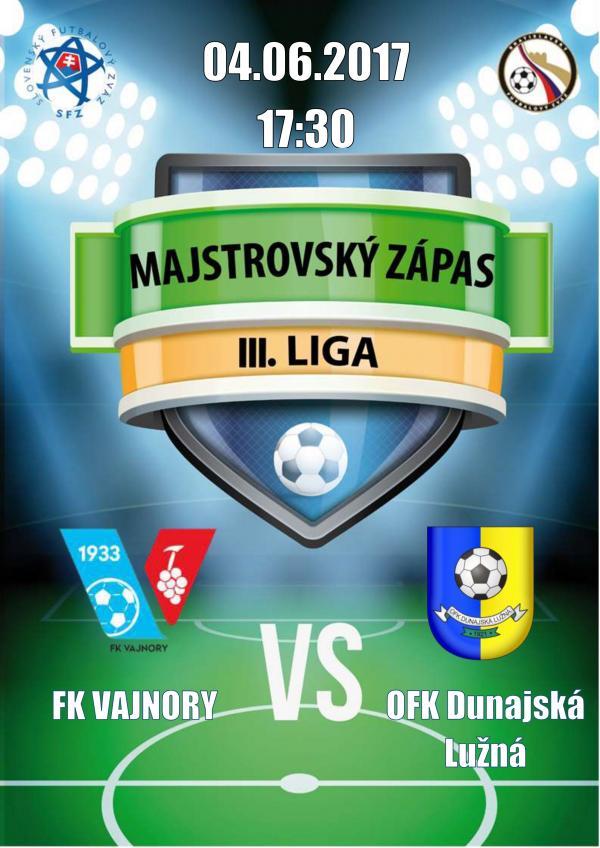 Majstrovský futbalový zápas 4.6.2017