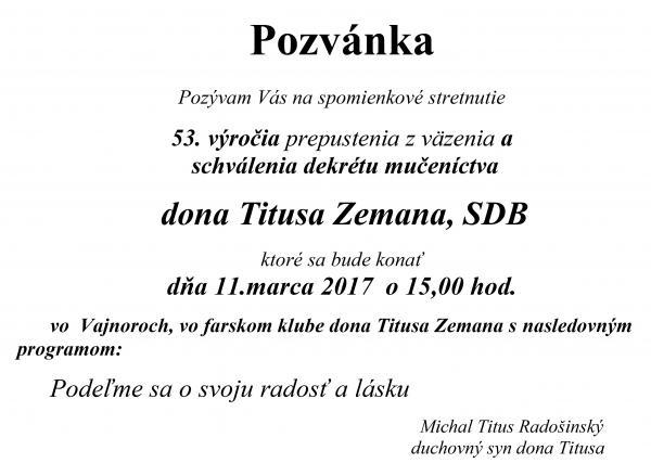 Pozývam Vás na spomienkové stretnutie Titus Zeman, SDB 11.marca 2017