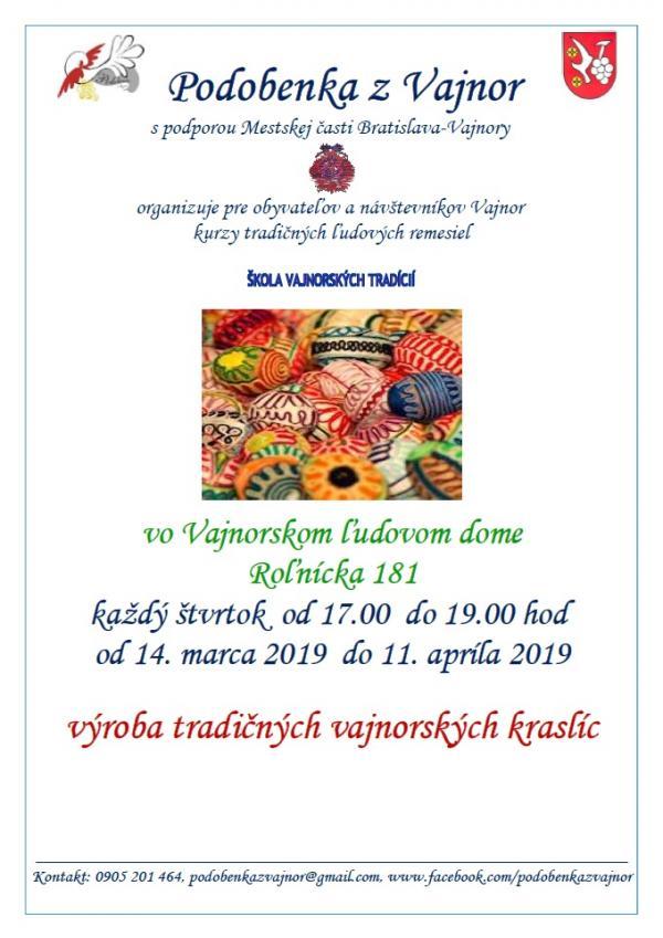 Škola vajnorských tradícií - Výroba tradičných vajnorských kraslíc vo VĽD