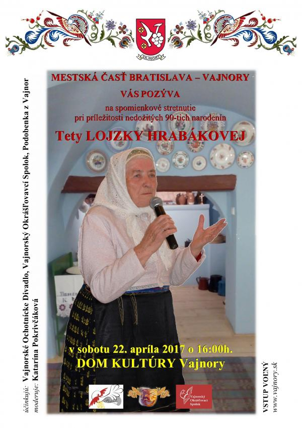 Spomienkové stretnutie na tetu LOJZKU HRABÁKOVÚ 22.4.2017