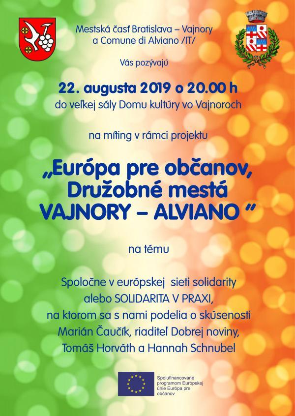 """""""Európa pre občanov, Družobné mestá Vajnory - Alviano"""" 22. augusta 2019"""