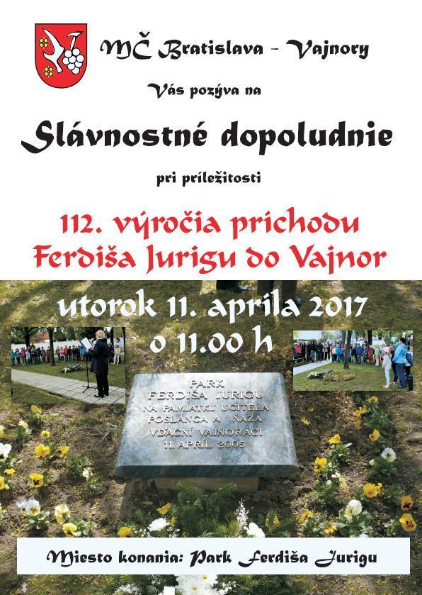 Slávnostné dopoludnie - Ferdiš Juriga 11. apríla 2017
