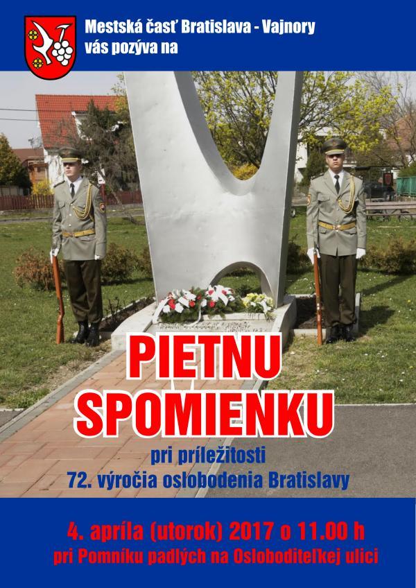 Pietna spomienka pri príležitosti 72. výročia oslobodenia Bratislavy 4. apríla 2017